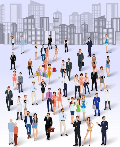 Groep mensen in de stad Premium Vector