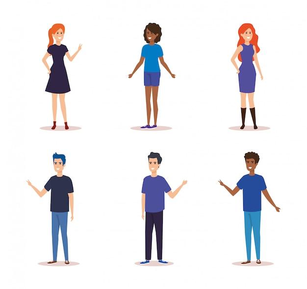 Groep mensen karakters Gratis Vector