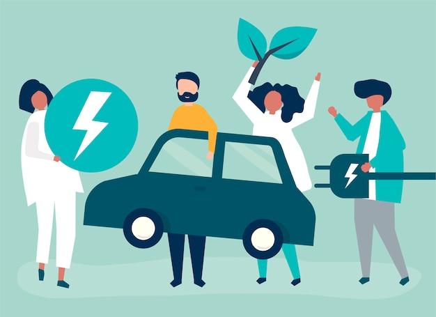 Groep mensen met een elektrische auto Gratis Vector