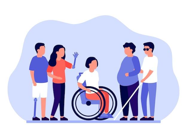 Groep mensen met een handicap die ondersteuning en assistentie nodig hebben Premium Vector