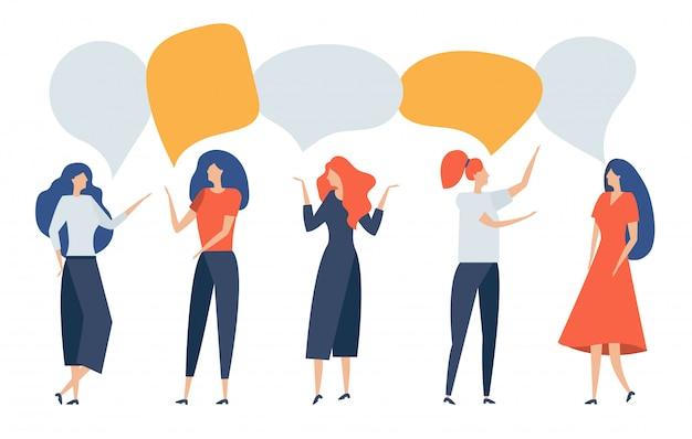 Groep mensen met tekstballon. vrouwen communiceren, praten, discussiëren, debatteren, redeneren, bewijzen, chatten, trekken conclusies. zakenlieden bespreken nieuws, sociale kwesties, onderhandelen. illustratie. Premium Vector