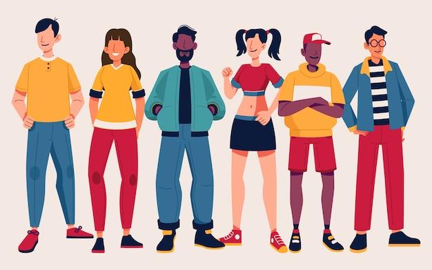 Groep mensen met trendy kleding Gratis Vector