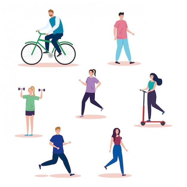 Groep mensen oefenen activiteiten avatar karakters illustratie ontwerp Gratis Vector