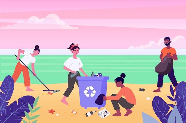 Groep mensen strand schoonmaken Gratis Vector
