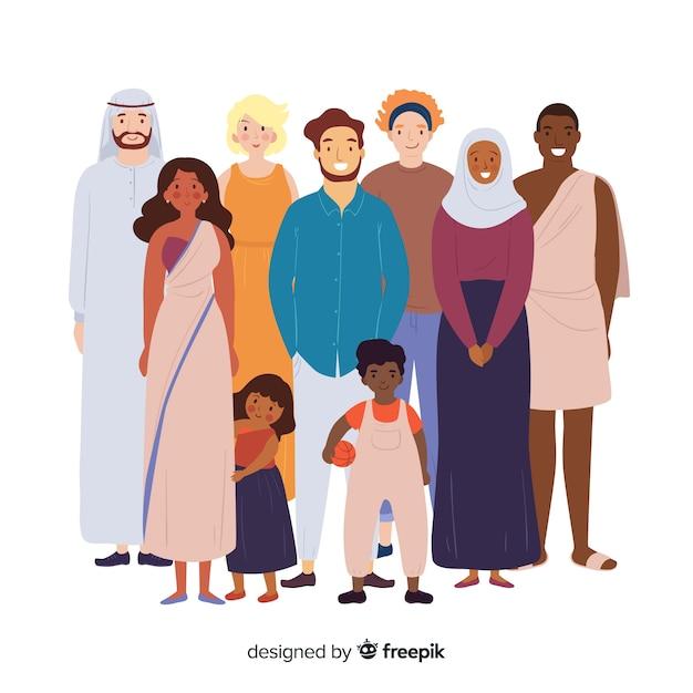 Groep mensen uit verschillende rassen Gratis Vector