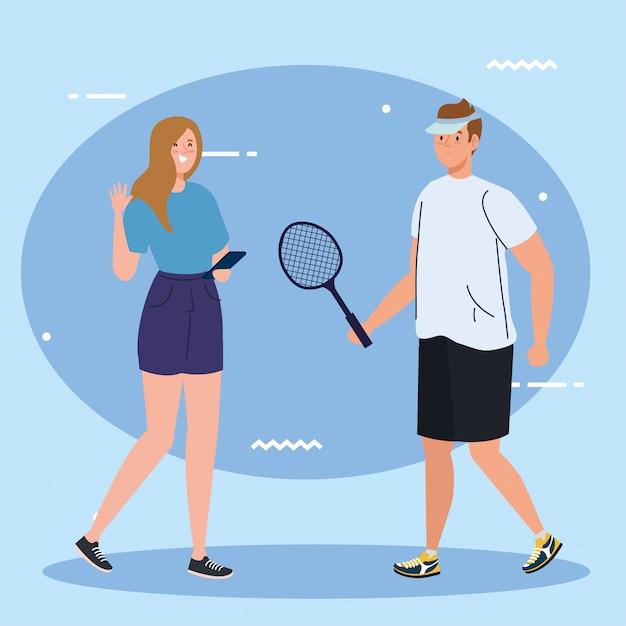 Groep mensen uitvoeren van activiteiten, man tennisser en vrouw met behulp van smartphone Premium Vector