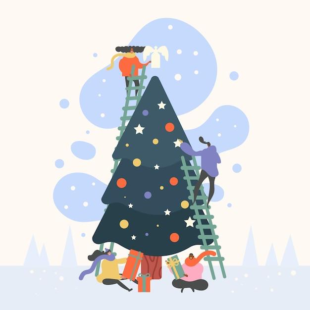 Groep mensen versieren kerstboom Gratis Vector
