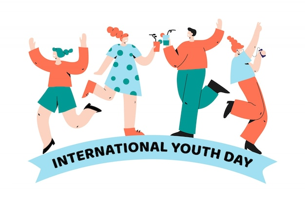 Groep mensen vieren samen jeugddag Gratis Vector