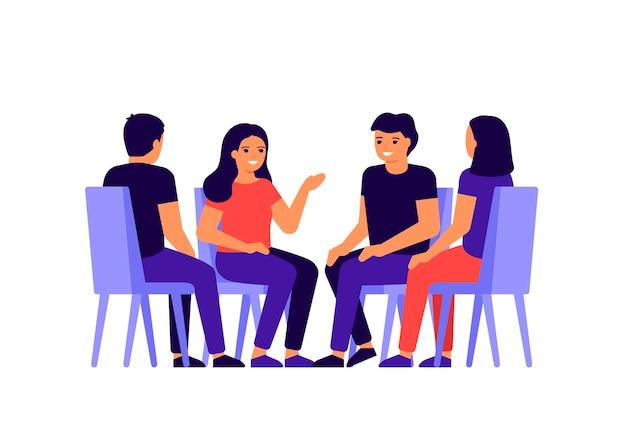 Groep mensen zit in een cirkel, chatten, nieuws, berichten bespreken. Premium Vector