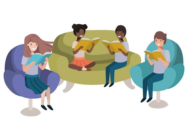 Groep mensen zitten in bank met boek avatar karakter Premium Vector