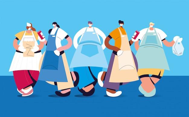 Groep obers met gezichtsmasker en uniform Premium Vector