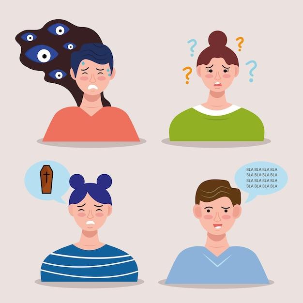 Groep personen met bipolaire stoorniskarakters Premium Vector