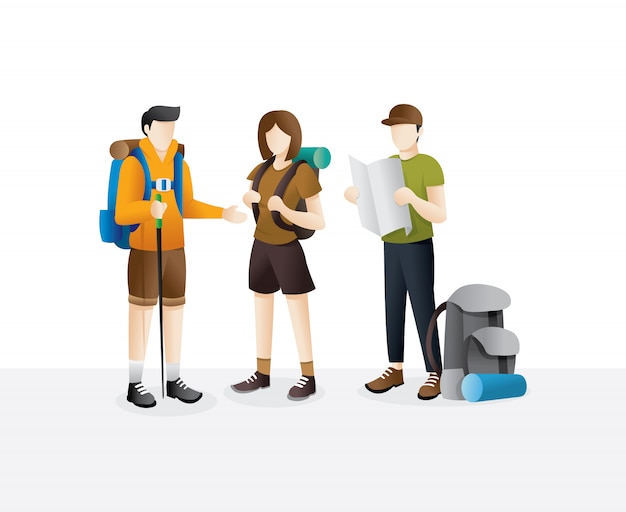 Groep reiziger wandelen Premium Vector