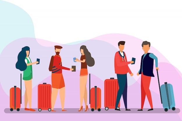 Groep reizigersmensen, stripfiguur. man, vrouw, vrienden met bagage op een geïsoleerde achtergrond. reizen en toerisme concept Premium Vector