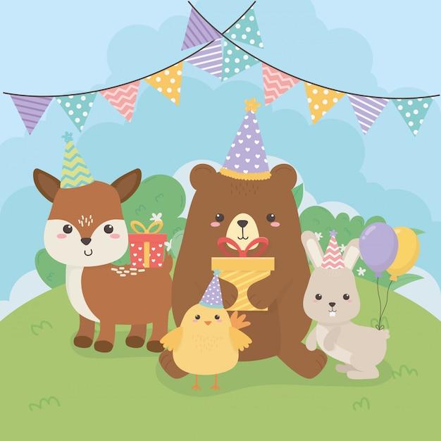 Groep schattige dieren boerderij in verjaardagspartij Premium Vector