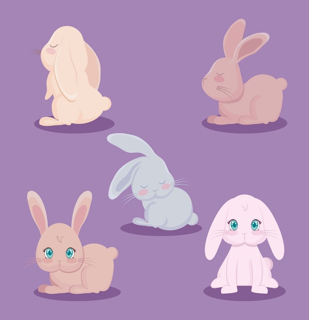 Groep schattige konijnen dieren Premium Vector