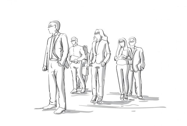 Groep schets ondernemers zakenlieden en vrouwen menigte volledige lengte Premium Vector