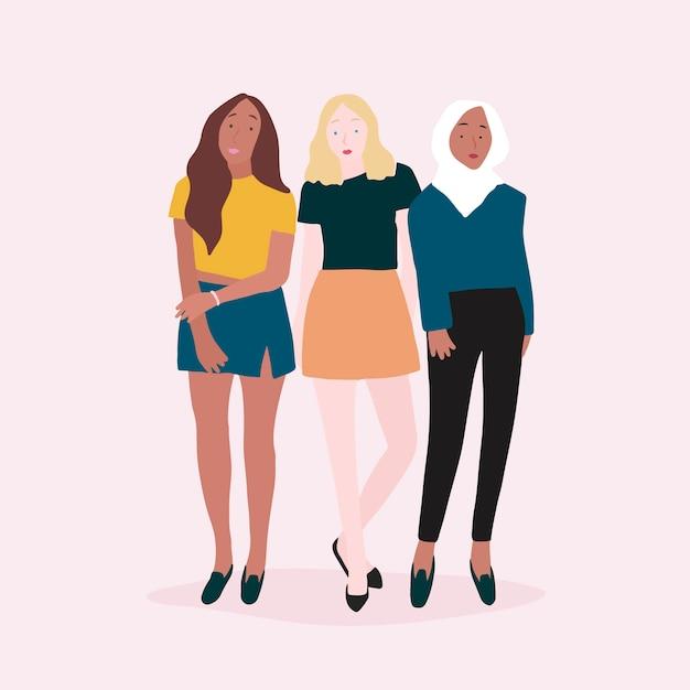 Groep sterke vrouwenvector Gratis Vector