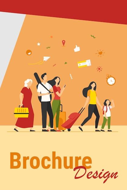Groep toeristen met koffers en tassen die zich in luchthaven bevinden. gezinnen, oudere stellen die reizen met bagage. vector illustratie voor reis, reis, reizen, vakantie concept Gratis Vector