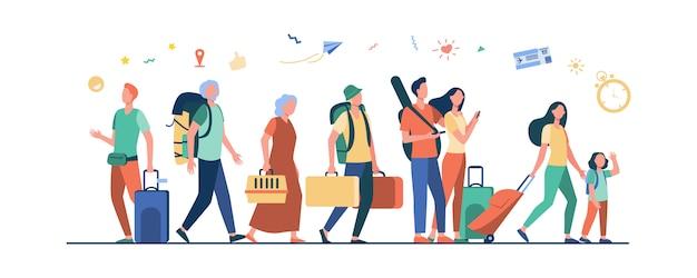 Groep toeristen met koffers en tassen die zich in luchthaven bevinden Gratis Vector