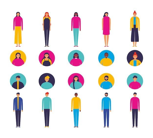 Groep uiteenlopende personages Gratis Vector