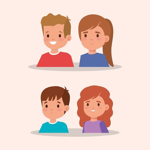 Groep van kleine kinderen avatar karakter Gratis Vector