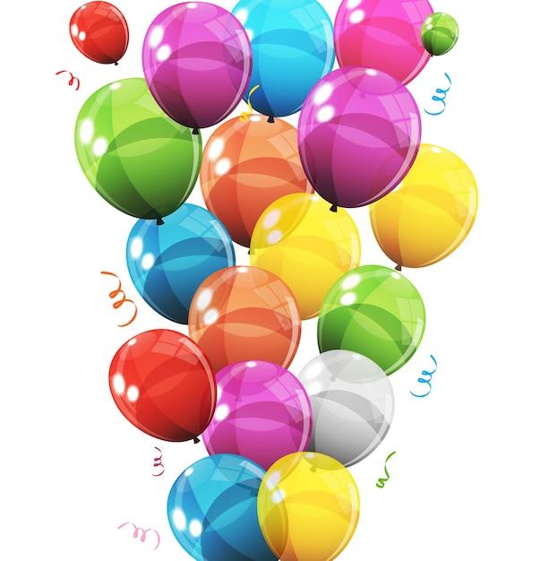 Groep van kleur glanzend helium ballonnen achtergrond set ballonnen voor verjaardagsfeestje verjaardagsfeestje decoraties Premium Vector