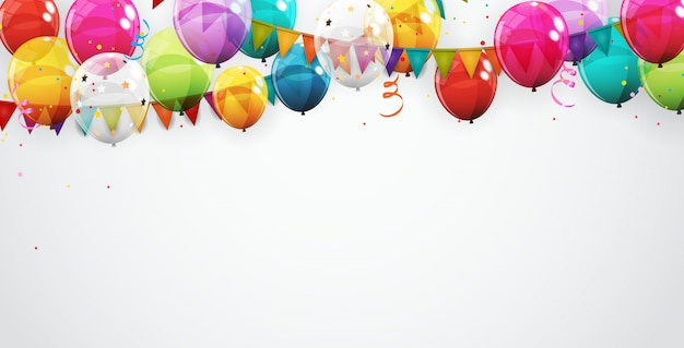 Groep van kleur glanzend helium ballonnen achtergrond Premium Vector