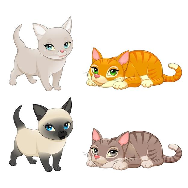 Groep van leuke katten met verschillende kleuren vector geïsoleerd stripfiguren Gratis Vector