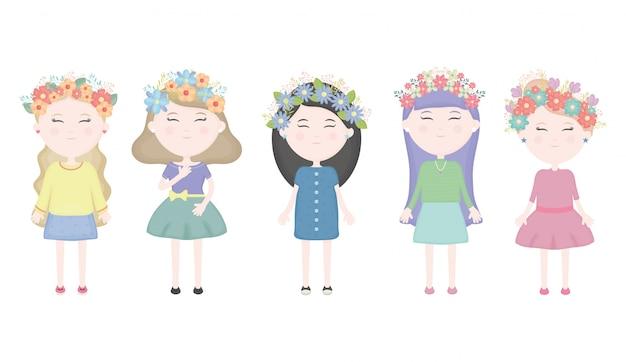 Groep van leuke meisjes met bloemen kroon in de haar tekens Gratis Vector