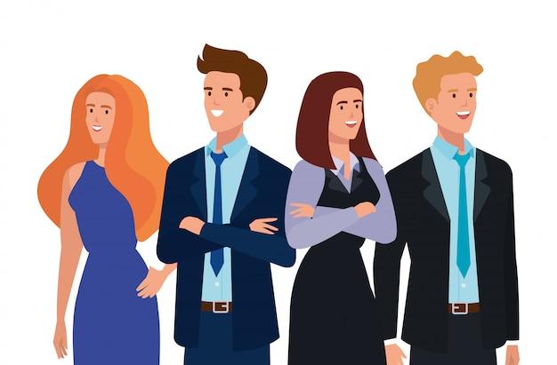 Groep van mensen uit het bedrijfsleven avatar karakter Gratis Vector