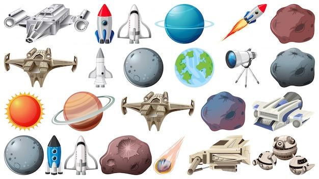 Groep van planeten en ruimtebehoeften Gratis Vector