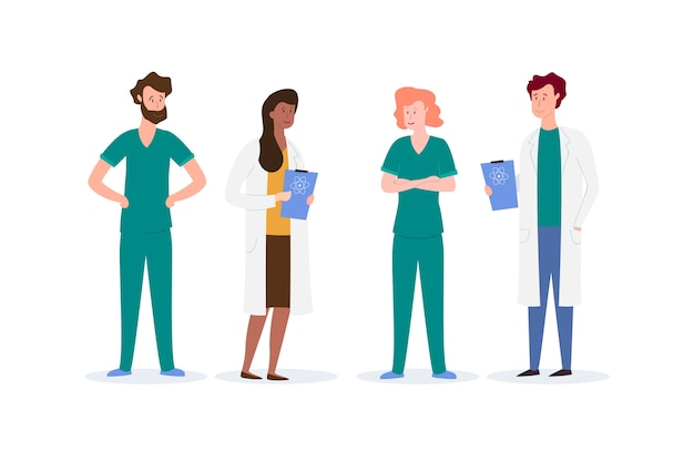 Groep van professioneel medisch team Gratis Vector