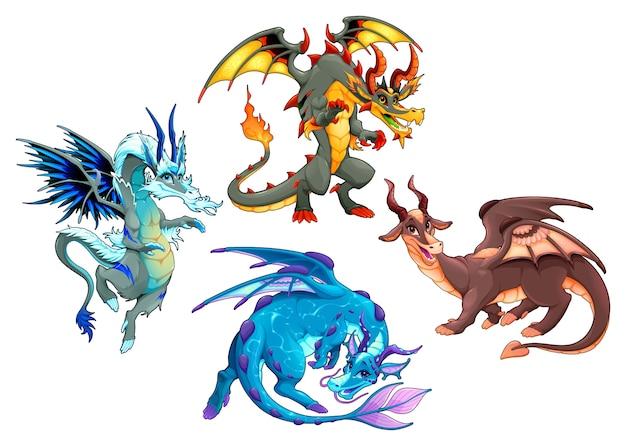 Groep van vier draken. vector fantasie geïsoleerde tekens. Premium Vector
