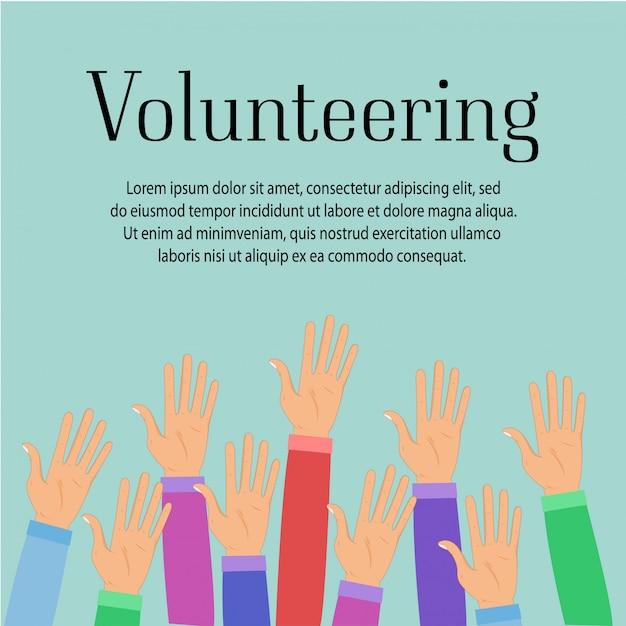 Groep van vrijwilligers verhogen handen. helpend mensenpictogram dat op witte achtergrond wordt geïsoleerd. Premium Vector