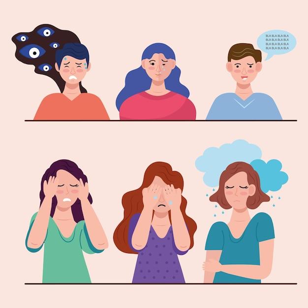 Groep van zes personen met bipolaire stoorniskarakters Premium Vector