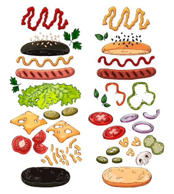 Groep vector geïsoleerde producten voor het koken van hotdogs. Premium Vector