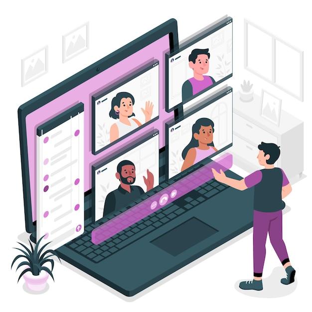 Groep video concept illustratie Gratis Vector