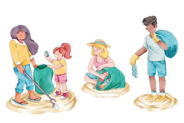 Groep vrienden die strandillustratie schoonmaken Gratis Vector