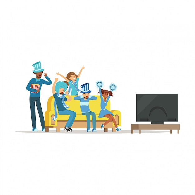 Groep vrienden kijken naar sport op tv en thuis overwinning vieren. mensen gekleed in blauw ter ondersteuning van hun favoriete sportteam illustratie Premium Vector