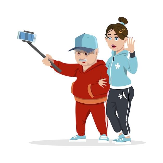 Groep vrolijke senior mensen hipsters verzamelen en plezier maken. concept gelukkige familie. grootouders. senior mensen selfie foto met stok. Premium Vector