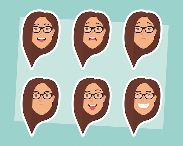 Groep vrouwen met oogglazenhoofden en uitdrukkingen Premium Vector
