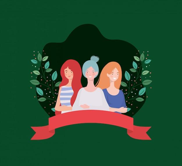Groep vrouwen permanent met lint en bladeren Gratis Vector