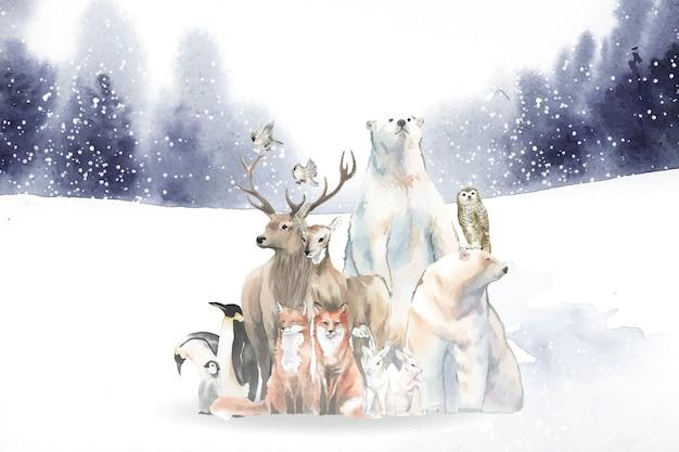 Groep wilde dieren in de sneeuw die in waterverf wordt getrokken Gratis Vector