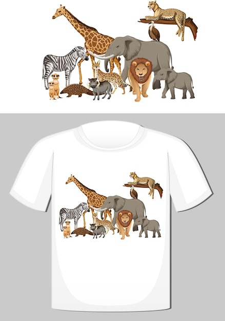 Groep wilde dieren ontwerpen voor t-shirt Gratis Vector