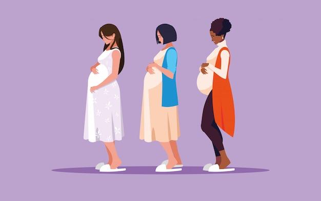 Groep zwangere vrouwen avatar karakter Premium Vector