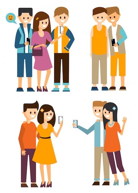 Groepen jongeren maken selfies en communiceren op sociale media Premium Vector
