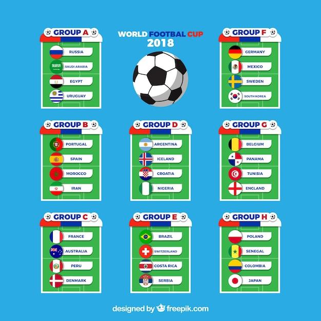 Groepen van voetbalwereldkampioenschap met verschillende vlaggen Gratis Vector