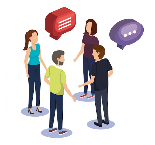 Groeps mensen teamwerk met tekstballon Gratis Vector