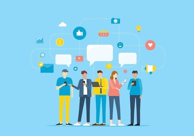 Groepsmensen communiceren via mobiele applicatie Premium Vector
